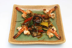 A Japanese dish of shrimp. Fried Japanese shrimp on a square plate Royalty Free Stock Image