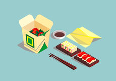 Japanese dishes. Asian food. Vector image of Asian dishes Stock Photos