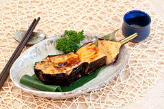 Japanese dishes - Baked Eggplant with Cheese. Baked Eggplant with cheese topping Stock Photo