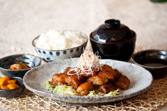 Japanese dishes - Deep Fried Chicken set meal. A set of nice presentation deep fried chicken in japanese style Stock Photos