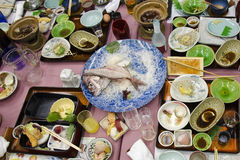 Japanese dishes after dinner Royalty Free Stock Image