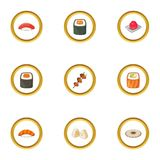 Japanese dishes icons set, cartoon style. Japanese dishes icons set. Cartoon style set of 9 japanese dishes vector icons for web design Royalty Free Stock Photography