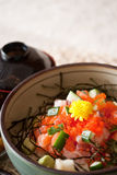 Japanese dishes - sashimi rice set Stock Photos