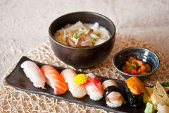 Japanese dishes - sushi & noodle dinning set Royalty Free Stock Photos