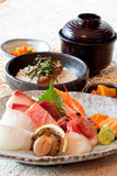 Japanese dishes - sushi & noodle dinning set royalty free stock photo