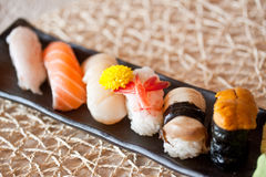 Japanese dishes - sushi set Stock Photography