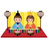 Japanese Doll Festival. Vector illustration.Original paintings and drawing Royalty Free Stock Photo