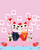 Japanese doll find love Maneki Neko bless Royalty Free Stock Images