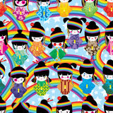 Japanese doll girl Harajuku rainbow seamless pattern Stock Photos