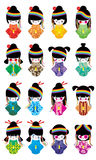 Japanese doll girl Harajuku rainbow set Royalty Free Stock Photo