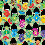 Japanese doll girl shy fan seamless pattern Stock Photo
