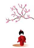 Japanese doll. Isolated on white background royalty free illustration