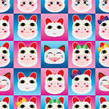 Japanese doll Maneki Neko head seamless pattern Stock Photo