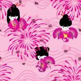 Japanese Doll Pink Sakura Firework Wave Line Seamless Pattern Royalty Free Stock Photo