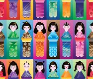 Japanese doll tall symmetry seamless. This illustration is design Japanese doll tall with colorful symmetry in seamless pattern vector illustration