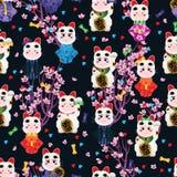 Japanese doll wear Maneki Neko seamless pattern royalty free illustration