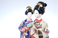 Japanese dolls. Two dolls with white background Stock Photos