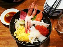 Japanese seafoods donburi Stock Photo