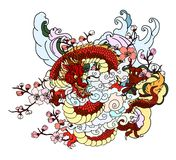 Japanese dragon with cloud vector set on background. royalty free stock images