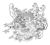 Japanese dragon with cloud vector set on background. stock photography