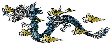 Japanese dragon. Described it in traditional Japanese technique Stock Photography