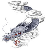 Japanese dragon. I drew a Japanese dragon in a freehand drawing Royalty Free Stock Image