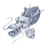 Japanese dragon. I drew a Japanese dragon in a freehand drawing Royalty Free Stock Photo