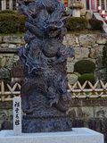 A japanese dragon sculpture. In a park asian traditional art decoration statue symbol background culture architecture chinese ancient black design illustration stock photography