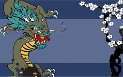 Japanese dragon tattoo background Stock Photos