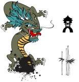 Japanese dragon tattoo set Royalty Free Stock Photos