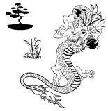 Japanese dragon tattoo set4 Royalty Free Stock Photos