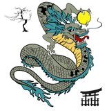 Japanese dragon tattoo set Stock Photos