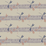 Japanese dragonflies and stream pattern Royalty Free Stock Photos