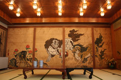 Japanese drawing and tatami Royalty Free Stock Photography