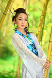 The Japanese dreams. The girl the Japanese in a kimono on the nature royalty free stock photo