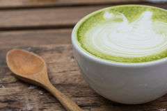 Japanese drink, Latte Cup of green tea Stock Photo