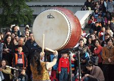 Japanese Drummers Perform Stock Images