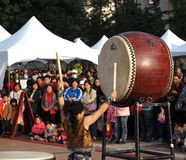 Japanese Drummers Perform Royalty Free Stock Photo