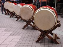Japanese drums perspective Royalty Free Stock Images