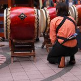 Japanese drums show moment Stock Photo