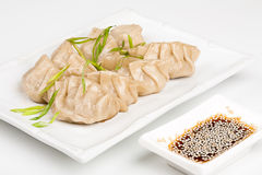 Japanese dumplings with soy. On the plate Royalty Free Stock Photo