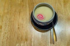 Japanese egg custard called Chawanmushi, Topped with Japanese fishball Naruto royalty free stock photography
