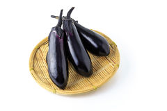Japanese eggplant on the colander Stock Image
