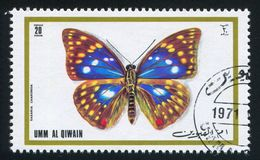 Japanese emperor butterfly. UMM AL-QUWAIN - CIRCA 1972: stamp printed by Umm al-Quwain, shows Japanese emperor butterfly, circa 1972 royalty free stock image