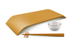 Japanese empty dish. In realistic style. Boards for sushi, chopsticks  on white background. Cooking vector illustration collection. Kitchen objects for your Stock Image