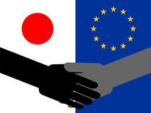 Japanese European  handshake Royalty Free Stock Photography