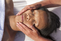 Japanese facial massage Stock Photos