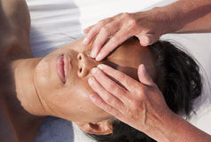 Japanese facial massage Royalty Free Stock Photo