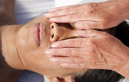 Japanese facial massage Royalty Free Stock Image
