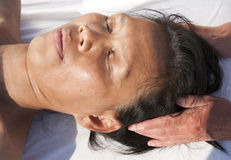 Japanese facial massage Royalty Free Stock Photos